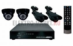 Комплект видеонаблюдения 2 внутренние камеры 2 наружные камеры (без жесткого дис