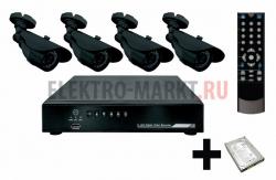 Комплект видеонаблюдения 4 наружные камеры (с жестким диском) REXANT