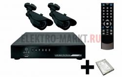 Комплект видеонаблюдения 2 наружные камеры (с жестким диском) REXANT