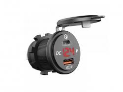 Зарядное USB с вольтметром и разъёмом type C+PD красная подсветка врезное 12V QC