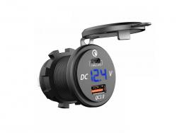 Зарядное USB с вольтметром и разъёмом type C+PD синяя подсветка врезное 12V QC3.