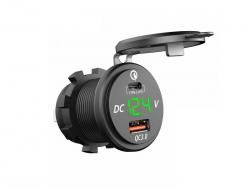 Зарядное USB с вольтметром и разъёмом type C+PD зелёная подсветка врезное 12V QC