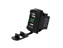 Зарядное USB с вольтметром зелёная подсветка прямоугольное на 2-а гнезда врезное