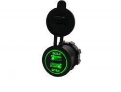 Зарядное USB с зелёной подсветкой на 2-а гнезда врезное QC3.0