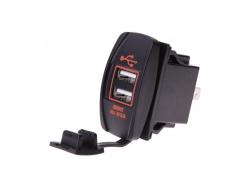 Зарядное USB с красной подсветкой прямоугольное на 2-а гнезда врезное 12V 3.1A