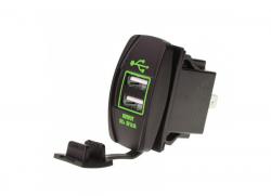 Зарядное USB с зелёной подсветкой прямоугольное на 2-а гнезда врезное 12V 3.1A