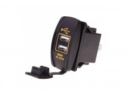 Зарядное USB с жёлтой подсветкой прямоугольное на 2-а гнезда врезное 12V 3.1A