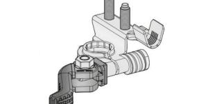 Аккумуляторная клемма быстросъёмная минусовая 2 шплинта М6-М6 под обжим