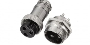 Металлический разъем 3 контакта GX16M с гайкой
