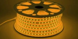 Светодиодная лента влагозащищённая SMD5050 60Led жёлтый 220V IP67