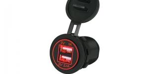 Зарядное USB с красной подсветкой на 2-а гнезда врезное 12V 2.1A+1А