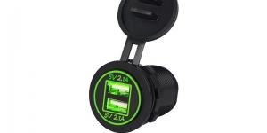 Зарядное USB с зелёной подсветкой на 2-а гнезда врезное 12V 2.1A+2.1А