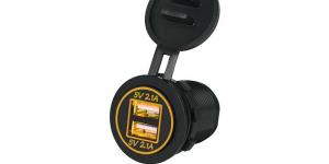 Зарядное USB с жёлтой подсветкой на 2-а гнезда врезное 12V 2.1A+2.1А