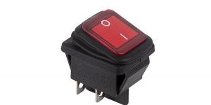 Выключатель клавишный влагозащищённый на 2 группы контактов с подсветкой 12V SC7