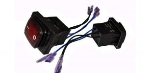 Выключатель клавишный влагозащищённый с проводами на 2 группы контактов с подсве
