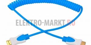 Шнур HDMI- HDMI 2М синий витой