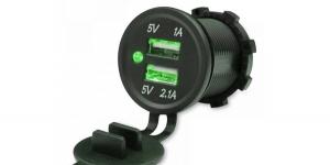 Зарядное USB с зелёным индикатором на 2-а гнезда врезное 12V 2.1A+1А