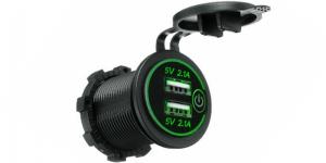Зарядное USB с зелёной подсветкой и сенсорным выключателем на 2-а гнезда врезное