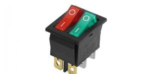 Выключатель 2-х клавишный с подсветкой IRS-2101-1C