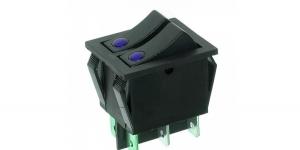 Выключатель 2-х клавишный с подсветкой IRS-2101E-1C