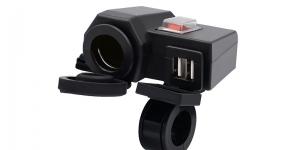 Зарядное USB с гнездом прикуривателя и выключателем на 2-а гнезда для мототехник