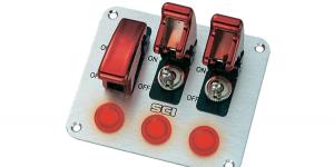 Панель на три тумблера с защитой тумблера и индикацией R18-P3A