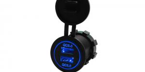 Зарядное USB с синей подсветкой на 2-а гнезда врезное QC3.0
