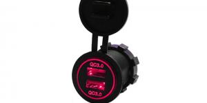 Зарядное USB с красной подсветкой на 2-а гнезда врезное QC3.0