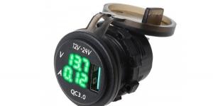 Зарядное USB с вольтметром и амперметром зелёная подсветка врезное 12/24V QC3.0