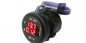 Зарядное USB с вольтметром и амперметром красная подсветка врезное 12/24V QC3.0
