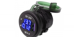 Зарядное USB с вольтметром и амперметром синяя подсветка врезное 12/24V QC3.0