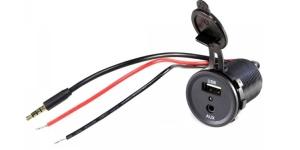 Зарядное USB с красным индикатором и разъёмом AUX 3.5мм врезное 12V 2,1А