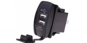 Зарядное USB с белой подсветкой прямоугольное на 2-а гнезда врезное 12V 3.1A